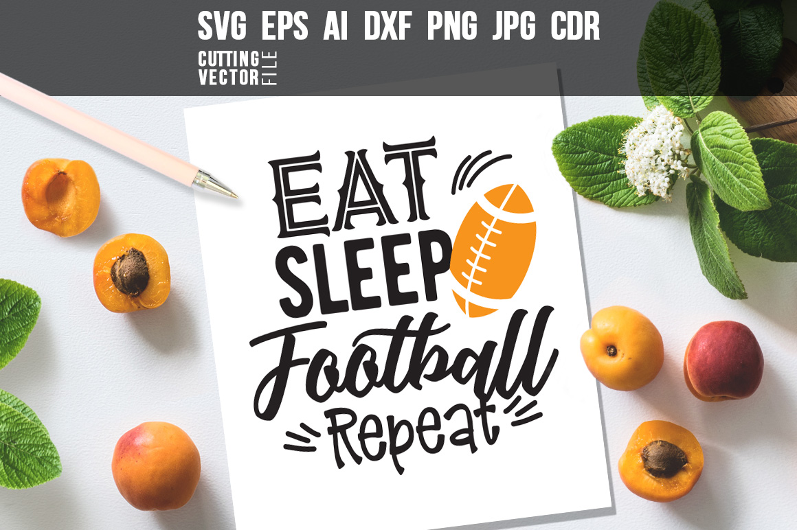 Download Free Eat Sleep Football Repeat Graphic By Danieladoychinovashop for Cricut Explore, Silhouette and other cutting machines.