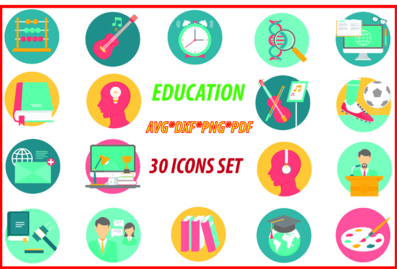 Download Free Education Icons Set Graphic By Best Store Creative Fabrica for Cricut Explore, Silhouette and other cutting machines.
