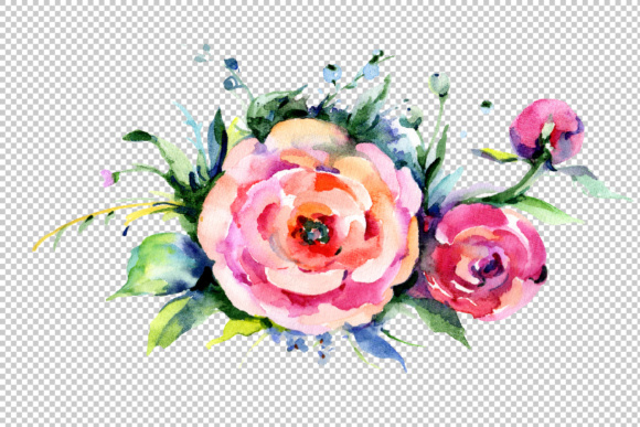 Print on Demand: Elegant Bouquet Pink Flower Watercolor Set Graphic Illustrations By MyStocks