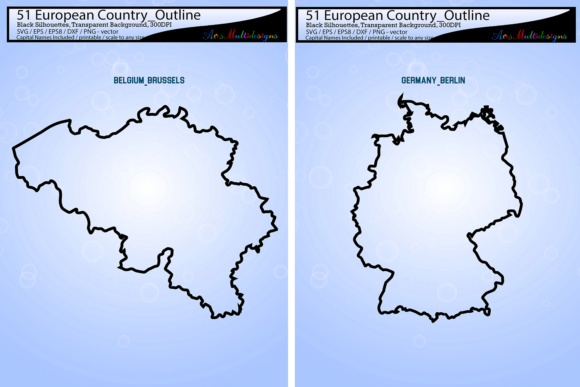 Print on Demand: European Country Outline Map Silhouette Graphic Illustrations By Arcs Multidesigns - Image 2