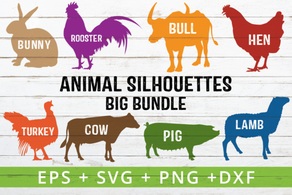 Download Free 9 Farm Animal Silhouettes Graphic By Great19 Creative Fabrica for Cricut Explore, Silhouette and other cutting machines.