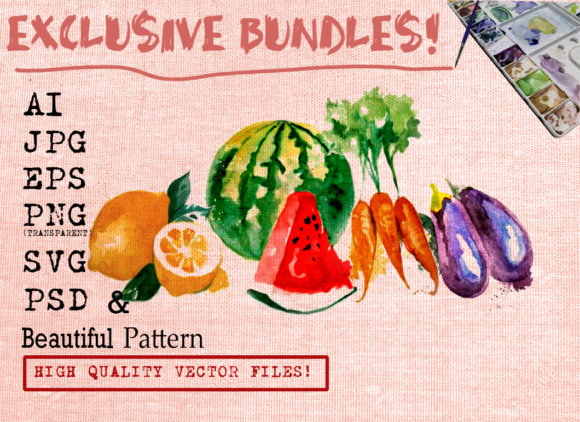 FRUITS and VEGETABLES WATERCOLORS SET Graphic Illustrations By Ambar Art