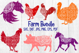 Download Free Farm Animal Mandala Bundle Graphic By Wispywillowdesigns for Cricut Explore, Silhouette and other cutting machines.