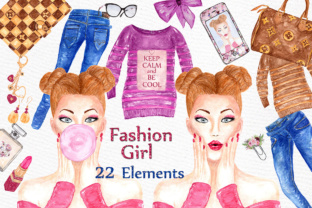 Print on Demand: Fashion Girl Clipart PLANNER CLIPART Fashion Illustration Stickers Graphics Handbag Clipart Graphic Illustrations By LeCoqDesign