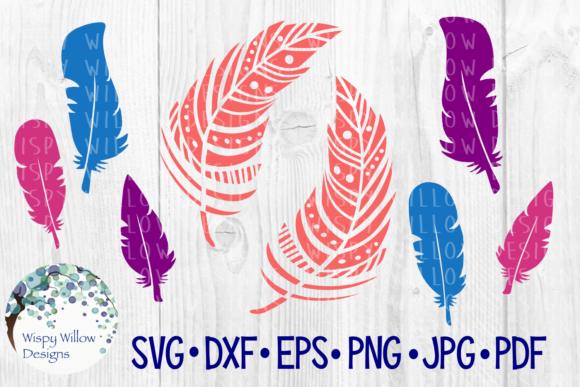 Download Free Feather Bundle Cut File Boho Feathers Graphic By for Cricut Explore, Silhouette and other cutting machines.