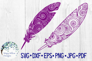 Download Free Feather Zentangle Detailed Boho Cut File Graphic By for Cricut Explore, Silhouette and other cutting machines.