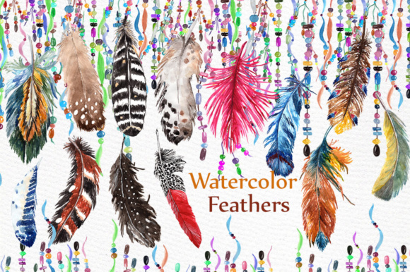 Feathers Watercolor Clipart Graphic Illustrations By LeCoqDesign