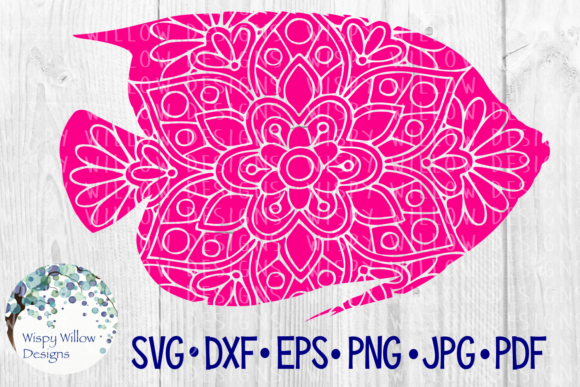 Download Free Fish Mandala Nautical Summer Ocean Beach Floral Cut File for Cricut Explore, Silhouette and other cutting machines.