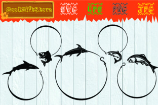 Download Free Fishing Monogram Frames Graphic By Piedesigner Creative Fabrica for Cricut Explore, Silhouette and other cutting machines.