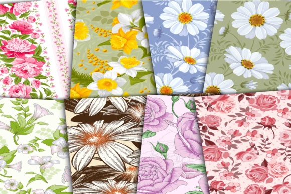Print on Demand: Floral Digital Colorful Papers Graphic Backgrounds By retrowalldecor - Image 2