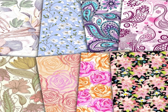 Print on Demand: Floral Digital Colorful Papers Graphic Backgrounds By retrowalldecor - Image 3