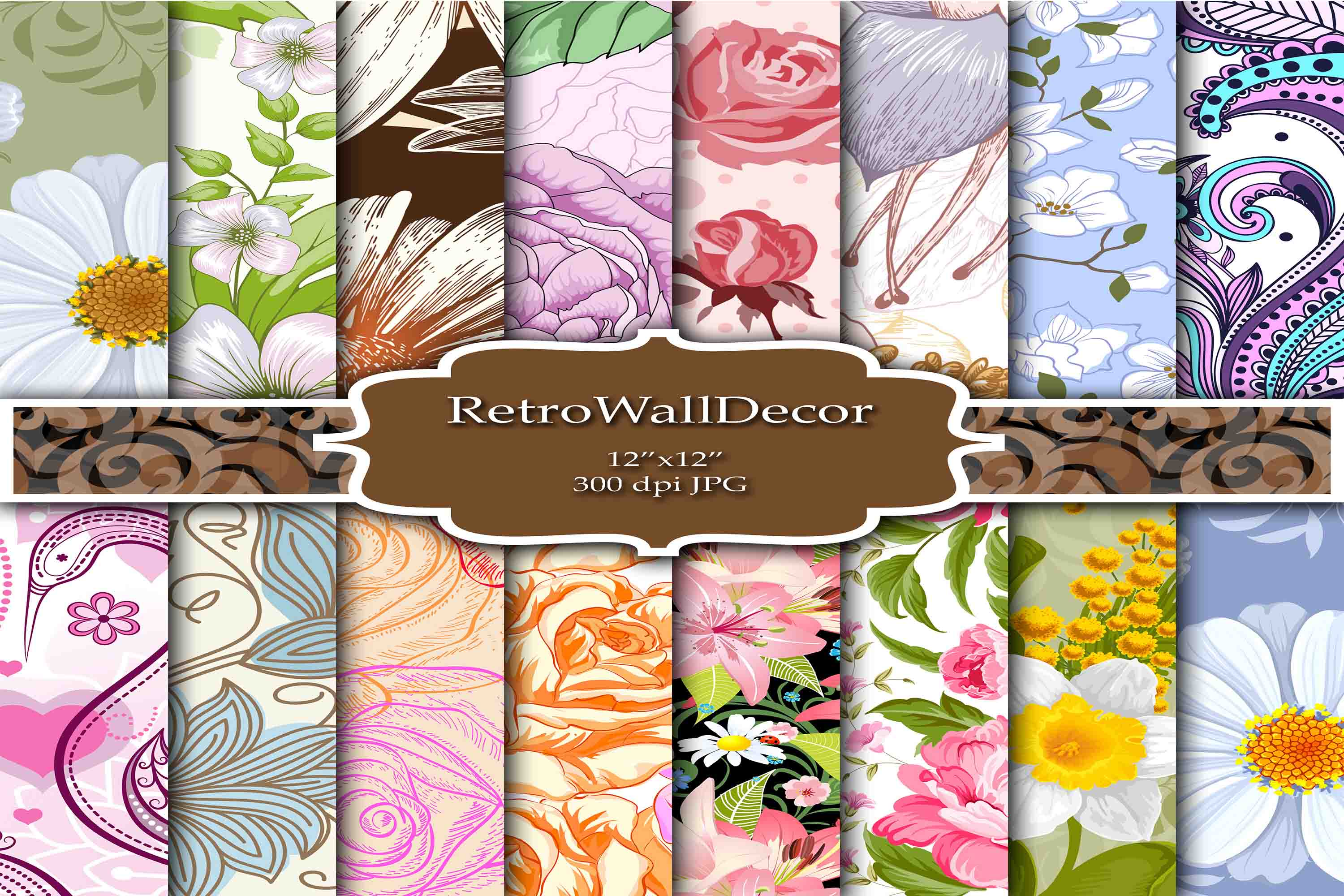 Download Free Floral Digital Colorful Papers Graphic By Retrowalldecor for Cricut Explore, Silhouette and other cutting machines.