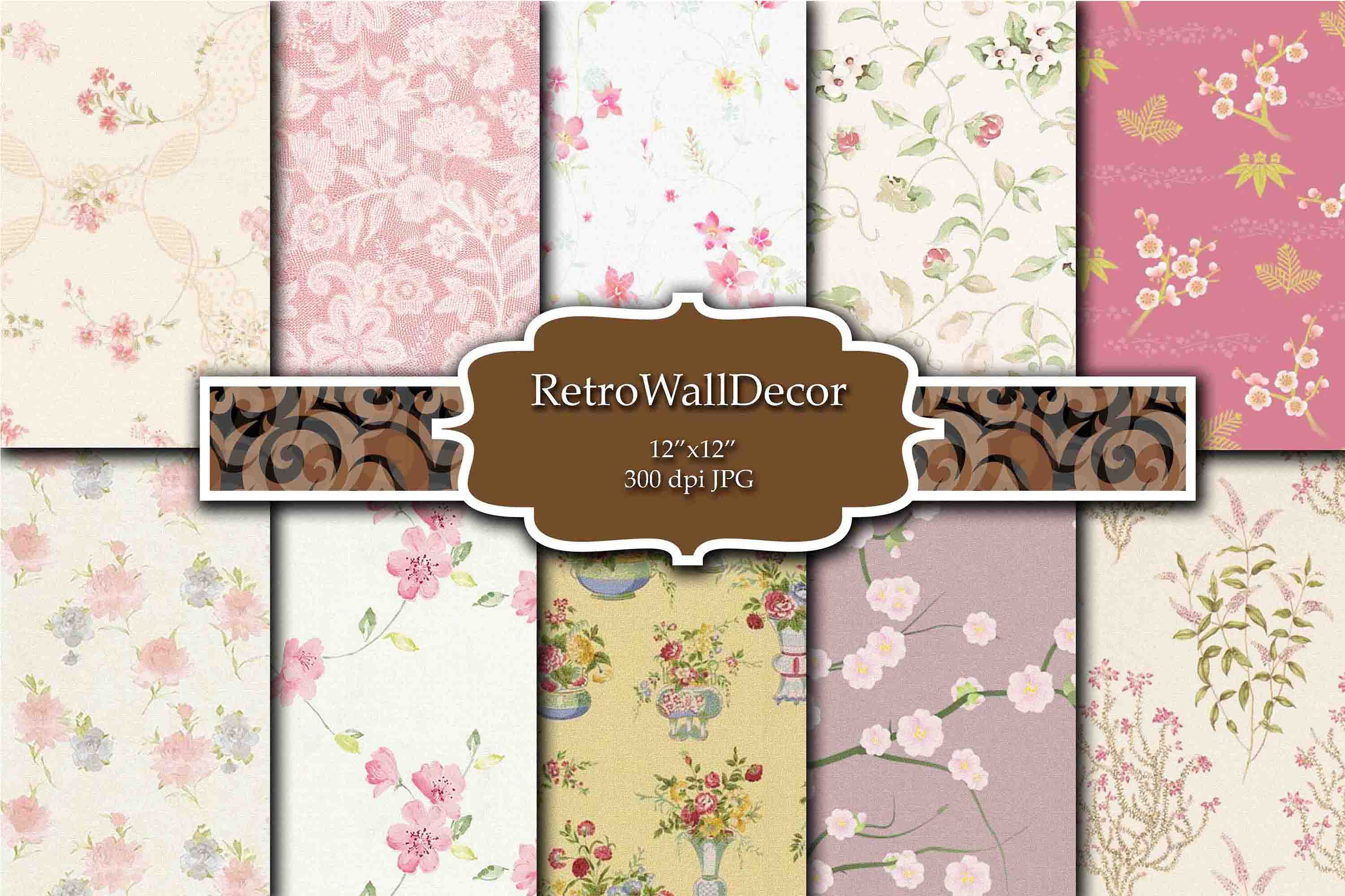 Download Free Vintage Floral Digital Paper Pack Roses Graphic By SVG Cut Files