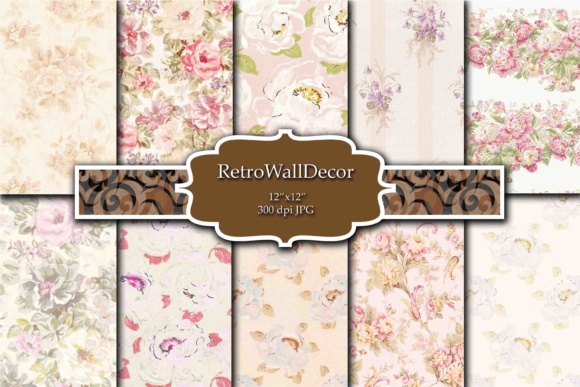Print on Demand: Floral Digital Paper Pack Roses Graphic Backgrounds By retrowalldecor