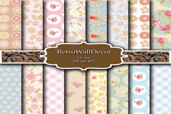 Print on Demand: Floral Digital Paper2 Graphic Backgrounds By retrowalldecor