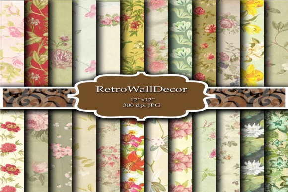 Print on Demand: Floral Digital Papers Background Graphic Backgrounds By retrowalldecor