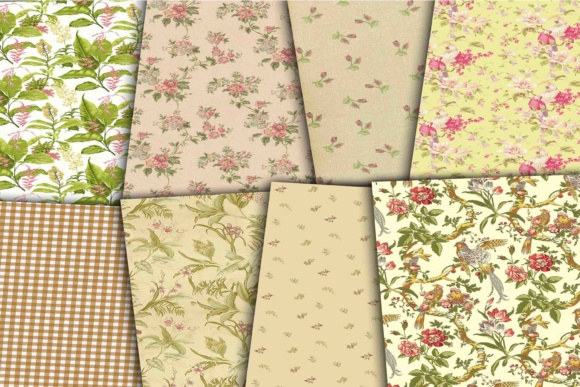 Print on Demand: Floral Digital Papers Graphic Backgrounds By retrowalldecor - Image 3