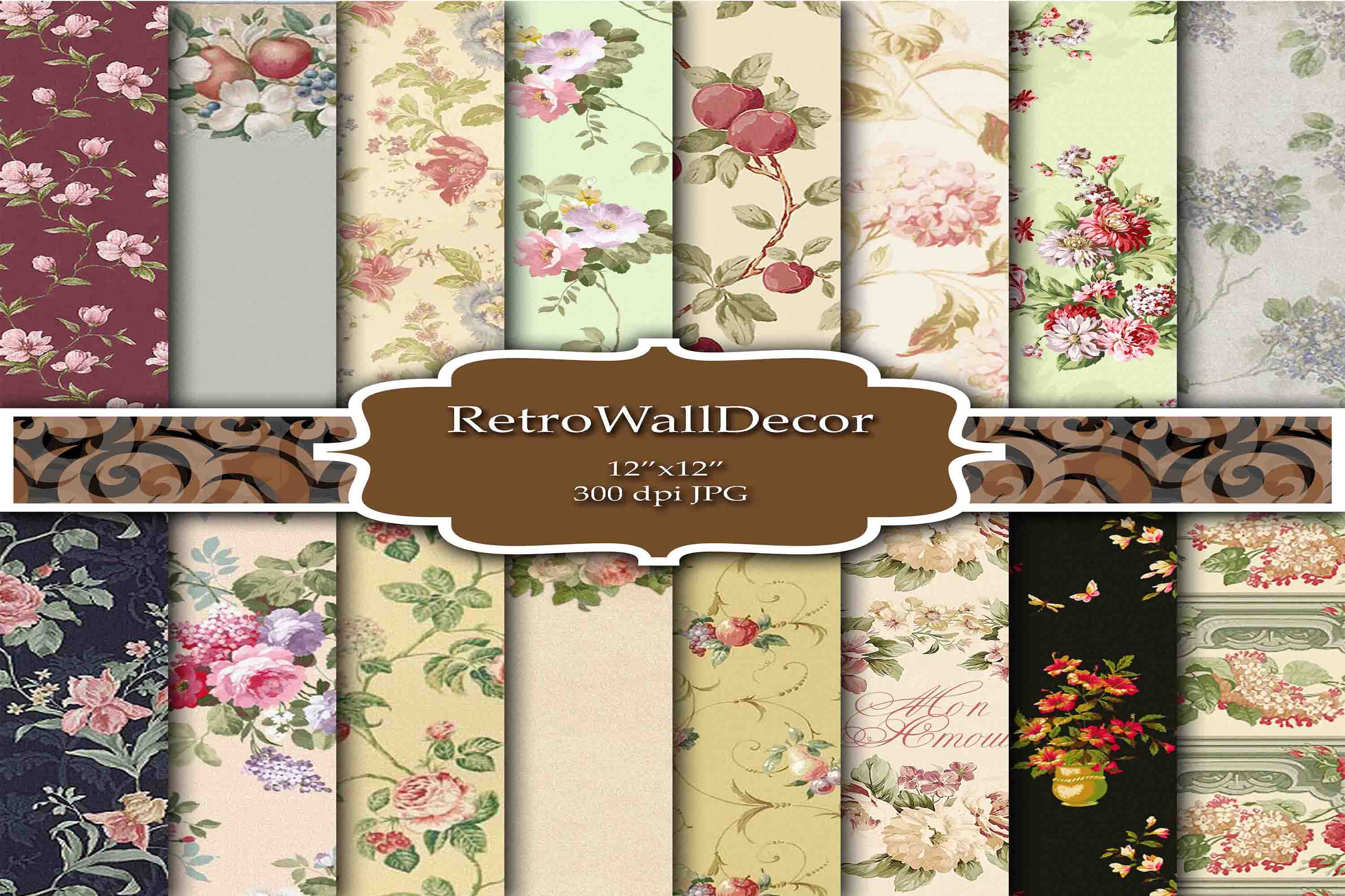 Download Free Floral Digital Papers Graphic By Retrowalldecor Creative Fabrica for Cricut Explore, Silhouette and other cutting machines.