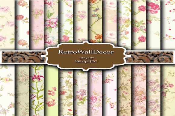 Download Free Floral Digital Papers Shabby Chic Graphic By Retrowalldecor SVG Cut Files