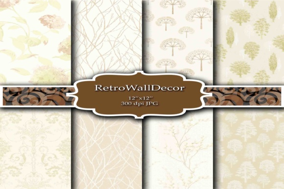 Print on Demand: Floral Digital Papers Vintage Graphic Backgrounds By retrowalldecor