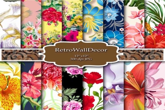 Print on Demand: Floral Digital Papers Graphic Backgrounds By retrowalldecor - Image 1