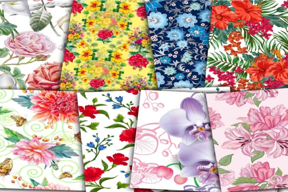 Print on Demand: Floral Digital Papers Graphic Backgrounds By retrowalldecor - Image 2