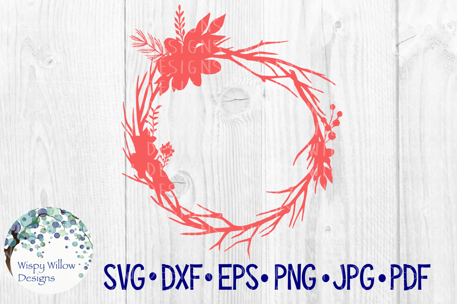 Download Free Floral Wreath Bird Nest Name Monogram Frame Border Cut File for Cricut Explore, Silhouette and other cutting machines.