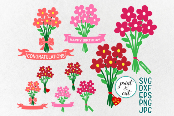 Flowers Bouquet Svg, Bundle Svg, Happy Birthday Svg, Thank You Svg, Clip Art, Congratulations, Png Jpg Dxf, Ribbon Heart Tag Graphic Crafts By Cornelia