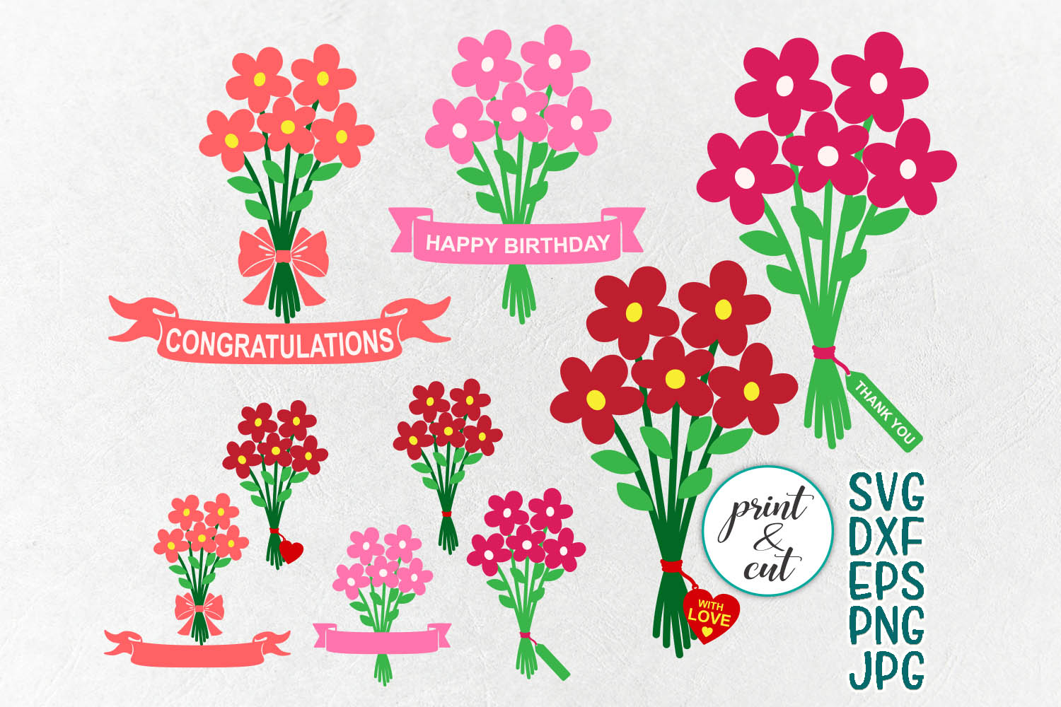Download Free Flowers Bouquet Graphic By Cornelia Creative Fabrica for Cricut Explore, Silhouette and other cutting machines.