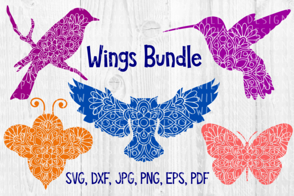 Download Free Flying Animal Mandala Bundle Owl Bird Bee Butterfly Cut File for Cricut Explore, Silhouette and other cutting machines.