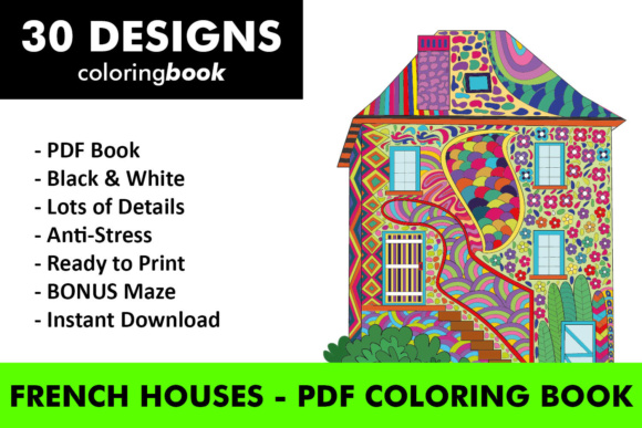 French Houses Coloring Book - 30 Unique Coloring Pages Graphic Coloring Pages & Books Adults By ColoringBooks101
