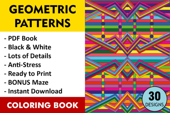 Geometric Patterns Coloring Book - 30 Coloring Pages Graphic Coloring Pages & Books Adults By ColoringBooks101 - Image 1