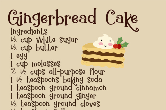 Download Free Gingerbread Cake Font By Illustration Ink Creative Fabrica for Cricut Explore, Silhouette and other cutting machines.