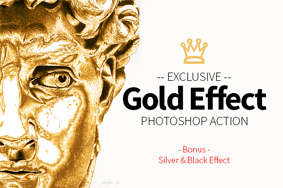 Print on Demand: Gold Effect Photoshop Action Graphic Actions & Presets By yantodesign