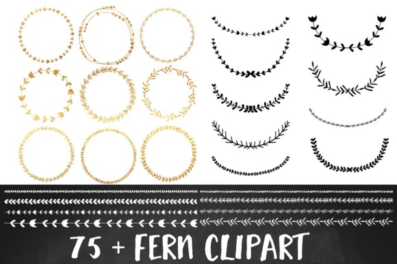Download Free Gold Foil Wreath Clipart Set Graphic By Illuztrate Creative for Cricut Explore, Silhouette and other cutting machines.