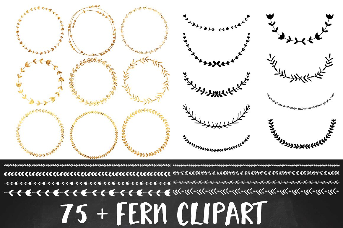 Download Free Gold Foil Wreath Clipart Set Graphic By Illuztrate Creative Fabrica for Cricut Explore, Silhouette and other cutting machines.