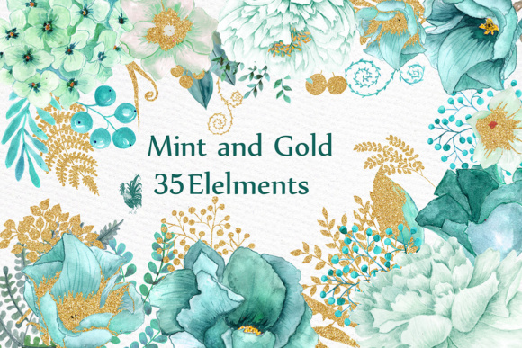 Gold Mint Watercolor Flowers Graphic Illustrations By LeCoqDesign
