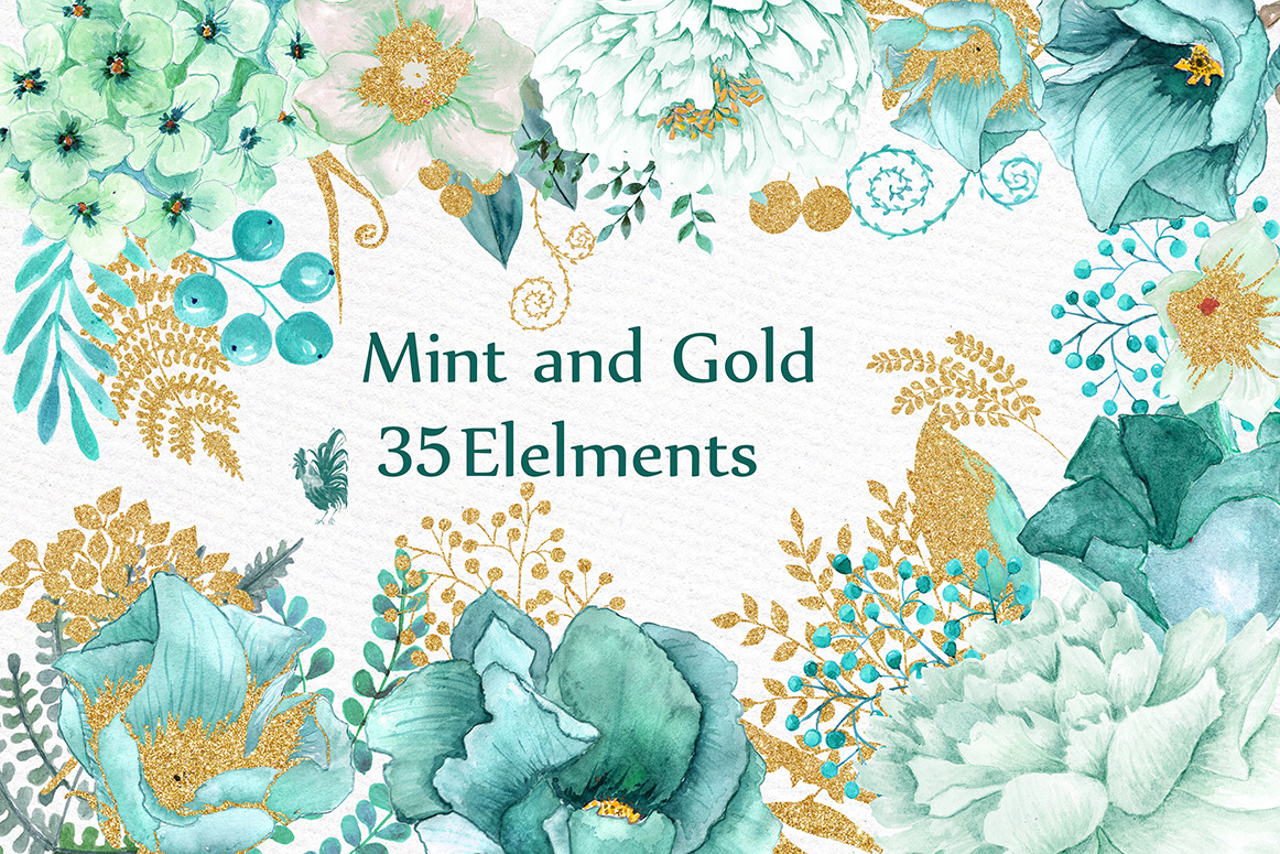 Gold Mint Watercolor Flowers Graphic By Lecoqdesign Creative