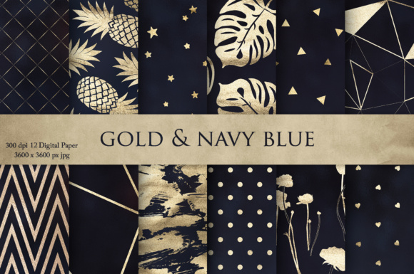 Print on Demand: Gold & Navy Blue Textures Grafik Texturen von Creative Paper
