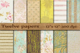 Gold Digital Papers Graphic Backgrounds By twelvepapers