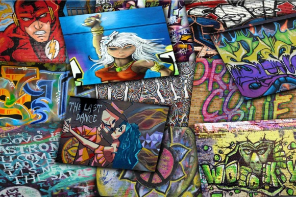 Print on Demand: Graffiti Digital Papers Graphic Illustrations By retrowalldecor