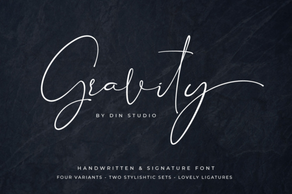 Print on Demand: Gravity Script & Handwritten Font By Din Studio