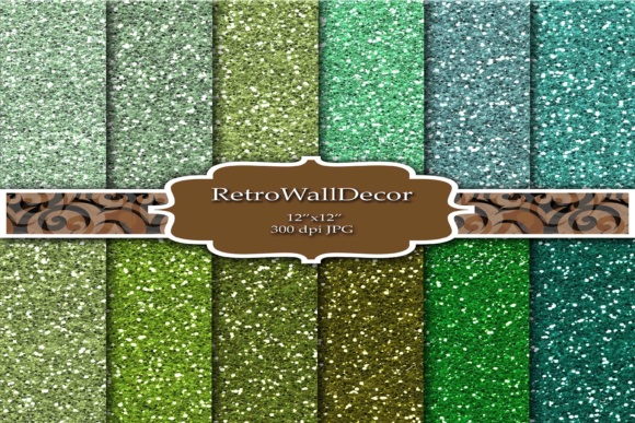 Print on Demand: Green Glitter Digital Papers Graphic Backgrounds By retrowalldecor