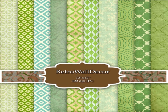 Print on Demand: Green Digital Papers Graphic Backgrounds By retrowalldecor