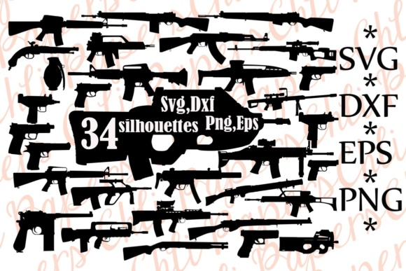 Gun Svg Silhouette Clipart Graphic Illustrations By ChiliPapers