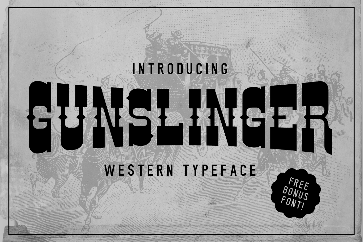 Download Free Gunslinger Font By Vontypeco Creative Fabrica for Cricut Explore, Silhouette and other cutting machines.