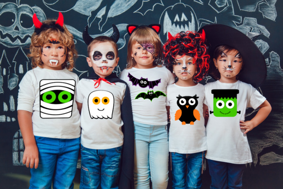 Download Free Halloween Characters Bundle Bat Ghost Mummy Frankenstein Owl for Cricut Explore, Silhouette and other cutting machines.