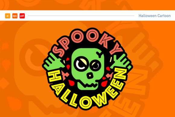 Halloween Skull Logo Graphic Illustrations By KitCreativeStudio