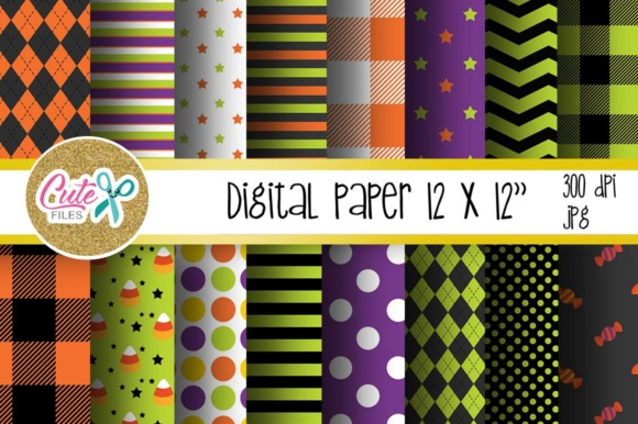 Halloween Digital Paper, Buffalo Plaid Pattern Graphic Textures By Cute files