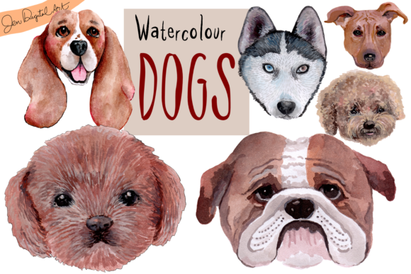 Hand Painted Watercolor Dogs Graphic By Jen Digital Art